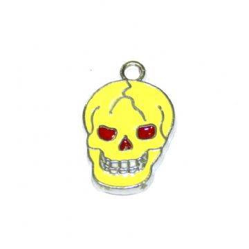 1pce x 16*12mm Rhodium plated yellow skull enamel charms - S.D03 - CHE1192